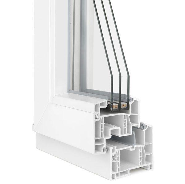 particolare del telaio di una finestra in pvc